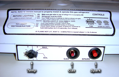 EZ Freeze Gas Refrigerators controls - Images by Warehouse Appliance, experts of off-grid appliances and gas fridge sales and service