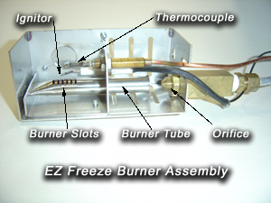 EZ Freeze Gas Refrigerators burner assembly - Images by Warehouse Appliance, experts of off-grid appliances and gas fridge sales and service