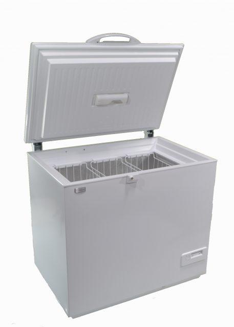 Solar powered AC DC chest style freezer white