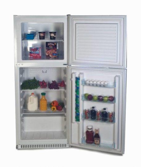 Solar powered DC upright refrigerator freezer white