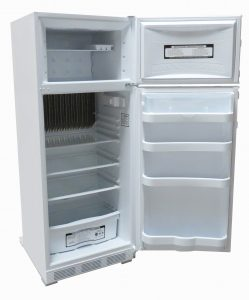 Interior shelves and doors of 10 cu. ft. EZ-10 gas fridge