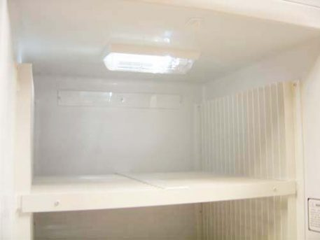 Battery powered LED interior light of the propane gas powered freezer