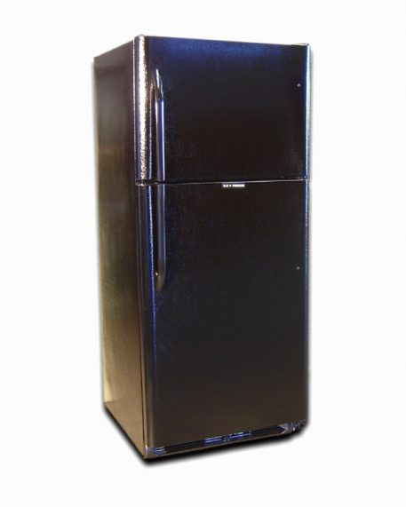 Exterior finish is black color of this propane refrigerator