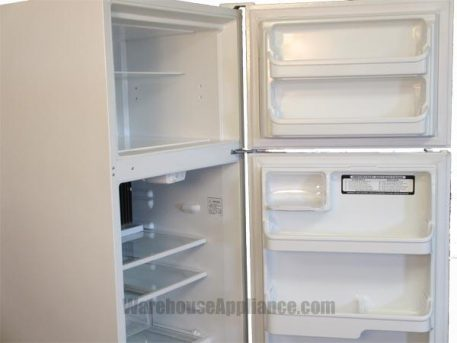 Interior door shelves in both the fridge and freezer of this propane refrigerator