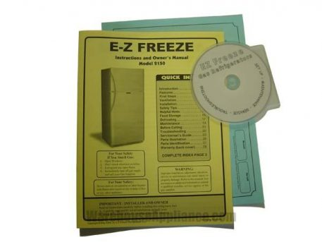 EZ Freeze gas fridge owners manual and maintenance DVD