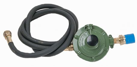 green regulator with black hose and fittings