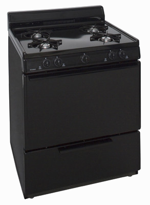 black 4 burner gas range