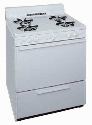 4 burner propane range in white