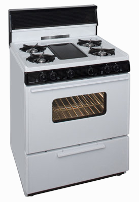 White range with 4 burners and middle griddle