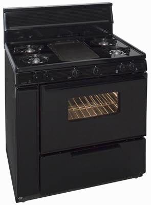 4 burner range with middle griddle and oven in black