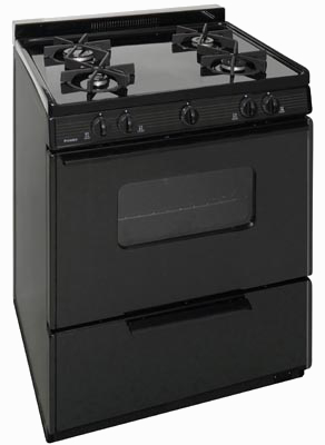 Range with oven and 4 sealed burners in black