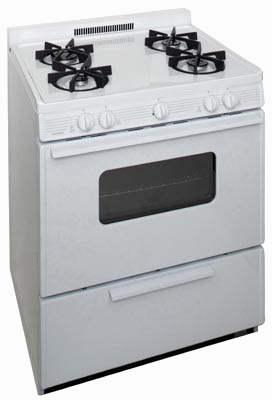 Range with oven and 4 sealed burners in white