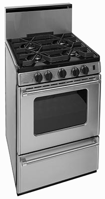 stainless steel 4 burner stove with oven and backsplash