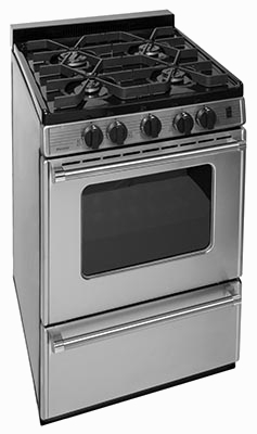 110v ignition small oven with 4 burners