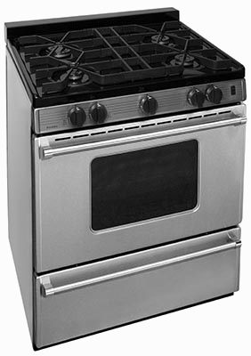 Stainless steel island style range with 4 burners, window
