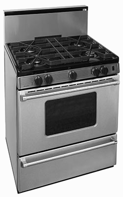 Stainless steel range with 4 burner oven window