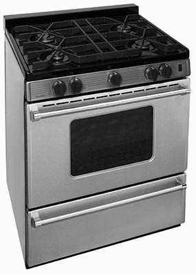 Island style stainless steel range 4 burners oven window