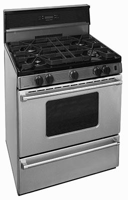 Range with backsplash clock oven window 4 burners stainless steel