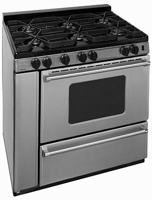 stainless steel island style range with oven window, 6 burners
