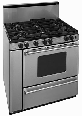 Stainless steel oven with 6 burners window, broiler and back splash