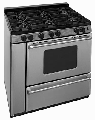 Stainless steel range with 6 burners and griddle oven window