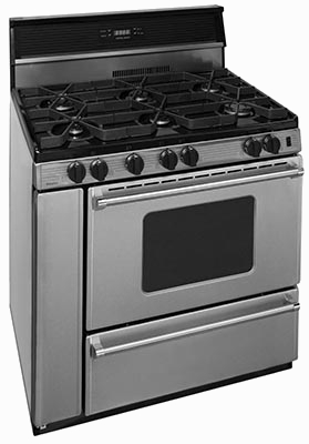 6 burner stainless steel range with oven window, clock and back splash