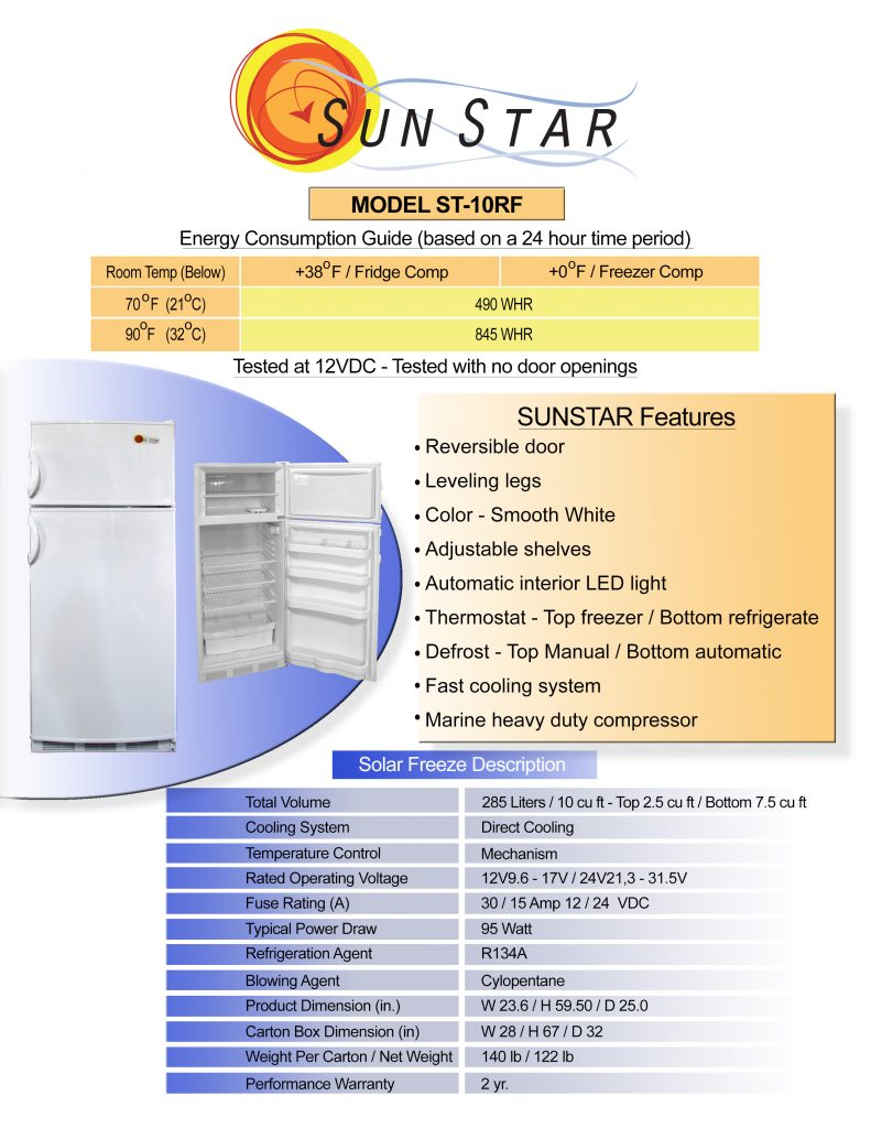 specification sheet for 10 cubic foot DC fridge