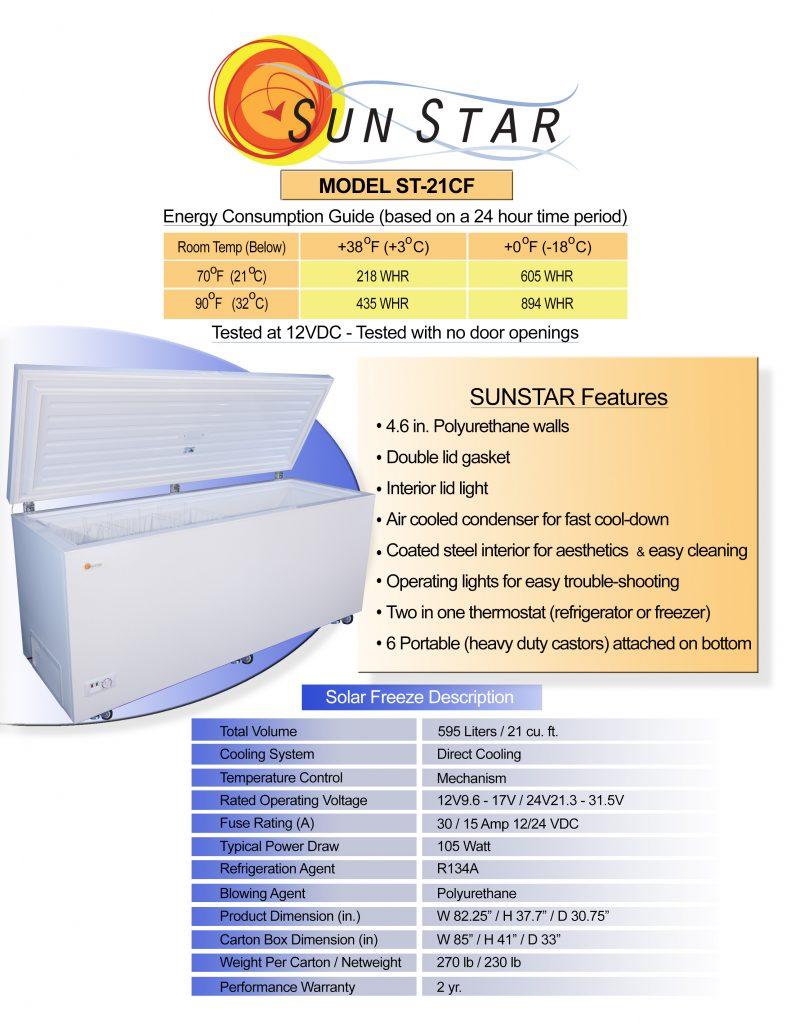 Spec sheet for 21 cubic foot chest fridge freezer