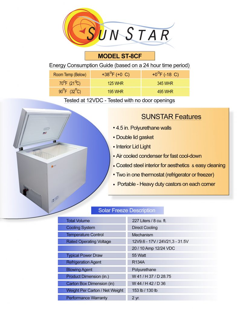 Spec sheet for 8 cubic foot solar chest freezer