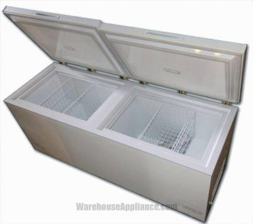 Inside the 21 cubic foot chest style solar refrigerator freezer