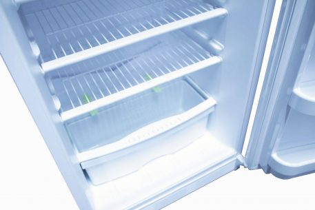 Wire shelving in fridge compartment