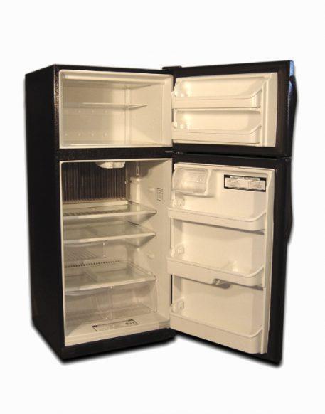 Front exterior 19 cu ft natural gas fridge black doors open