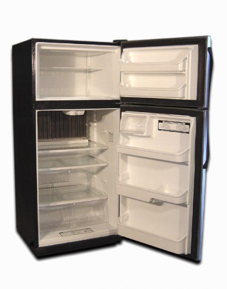Stainless steel fridge with top freezer doors open