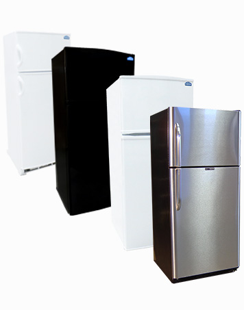 All sizes of Propane Refrigerators, white, black, stainless steel